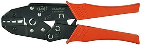 ケーブルカッター 非絶縁端子用 圧着ペンチ ラチェット 端子圧着プライヤー コネクタ10-35mm²/ 8-2AWG ハンド圧着工具 手動ケーブルカッター