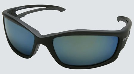 Edge Eyewear TSKAP218 Kazbek Polarized Safety Glasses, Black with Aqua Precision Blue Mirror Lens