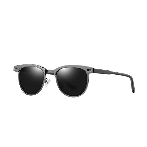 Unisex Retro Aluminum Brand Sunglasses Polarized Lens Vintage Eyewear Accessories Sun Glasses,Gun Grey