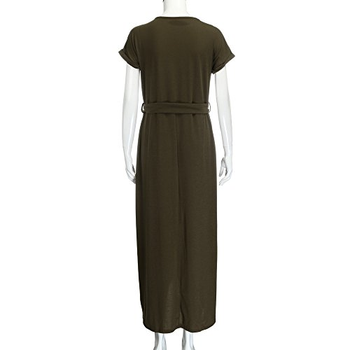 unita Boho Women Sundress cintura Summer tinta Maxi militare Dresses Dress Vecdy verde Evening Beach Party Elegant Long gonna con fBwvEO