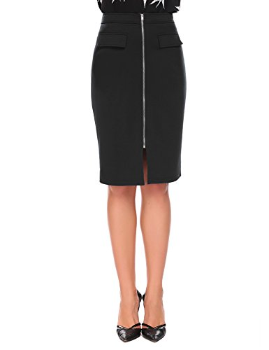 Chigant Women Black Midi Knee Length Stretchy Fitted Bodycon Zippered Pencil Skirt for Office