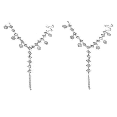 Hanloud Vintage Silver Flower Chain Anklet Coin Tassel Gypsy Bohemian Barefoot Sandal Beach Foot Jewelry for Women Girls
