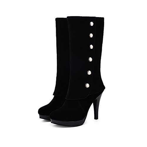 Heels Suede High Solid Round top Toe Black Imitated Women's Closed Mid Boots Allhqfashion UHpA0wZqAT