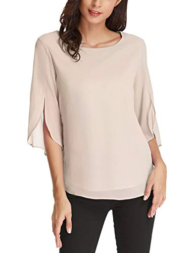 - Women's 3/4 Petal Sleeve Chiffon Blouse Casual T-Shirt Tops Size M Cream