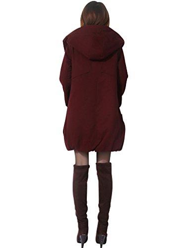 Mujer Espesar Capa Invierno Youlee Oscuro Rojo La De Cremallera Algodón dXfawt
