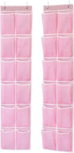 (Simple Houseware SHW 2PK Pink Over Door 12 Large Mesh Pocket Organizer)