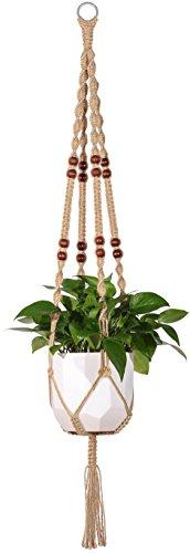 - Mkono Macrame Plant Hanger Indoor Outdoor Hanging Planter Basket Jute Rope With Beads 4 Legs 48 Inch