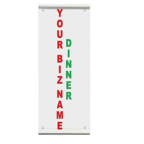 Your Biz Name Dinner Custom Red Green Restaurant Double Sided Pole Banner Sign 36 in x 48 in