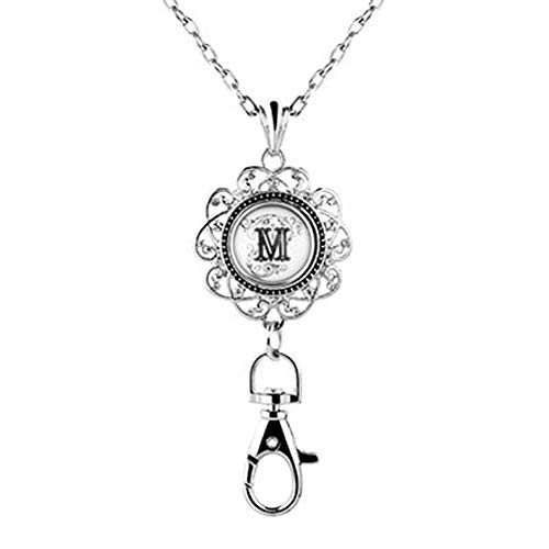 Jesse Ortega Women Office Lanyard ID Badges Holder Necklace Keychain with Letter A-Z Snap Charms Clip (M) ()