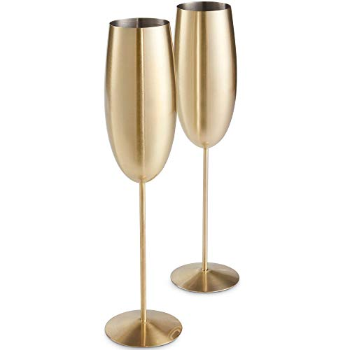 - VonShef Gold Champagne Glasses, Shatterproof Stainless Steel, Set of 2 Brushed Gold 9oz Champagne Flutes with Gift Box