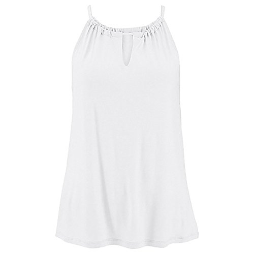 Womens Solid High Neck Vest Top Summer Sleeveless T Shirt Blouse Casual Hollow Tank Tops(White,L) by WYTong Clearance! (Image #2)