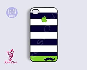 Iphone 5s case, iphone 5s covers - Mustache Unique Blue Green Stripes pattern...