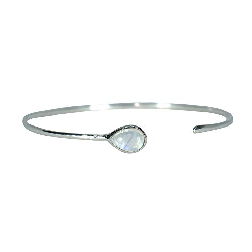 Pura Vida Moonstone Open Stone Silver Cuff - Waterproof, Artisan Handmade, Adjustable, Threaded, Fashion Jewelry for Girls/Women - Moonstone Silver Bangles