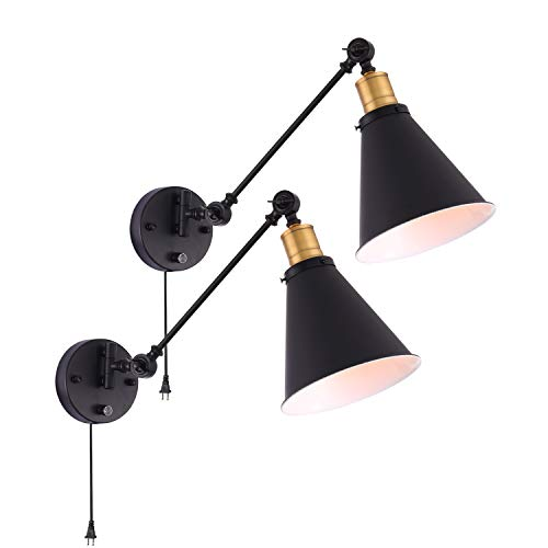 Larkar Dimmable Wall Lamp Industrial Plug in Wall Sconces Lamp, Vintage Style Swing Arm Wall Lamp with On/Off Switch Metal Black Wall Mounted Light Fixture for Indoor Bedroom-Set of 2