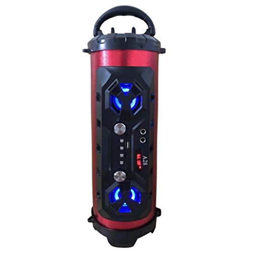 QUICATCH Mini Bluetooth Speaker LED Wireless FM Stereo Loud Bass Subwoofer Aux USB TF Barrel Speaker (C)
