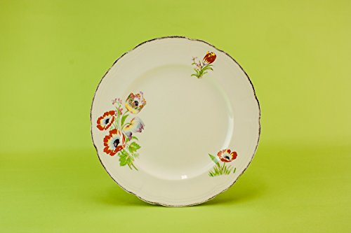 6 Festive Art Deco Service DINNER PLATES Rosyth Alfred Meakin Kitchen Vintage Pottery Cream Christmas English 1930s LS