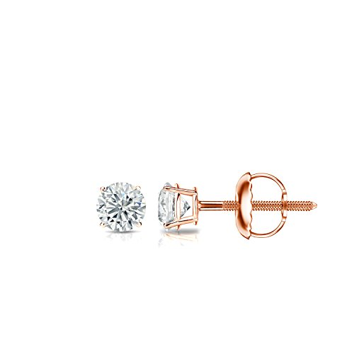 - Diamond Wish 14k Rose Gold Round Diamond Stud Earrings (1/6 carat TW, Good, I2-I3) 4-Prong Basket Screw-Back