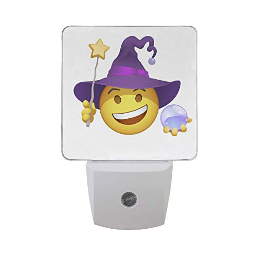 xiaodengyeluwd 2 Pack Halloween Emoji Witch Smiley Yellow Emoticon in Purple Twisted Hat Star Magic Wand Lilac Crystal Magic Sphere Auto Sensor LED Dusk to Dawn Night Light Plug in Indoor for Adults -