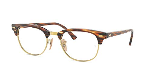 Ray Charles Glasses (Ray-Ban Unisex RX5154 Clubmaster Eyeglasses Brown/Beige Stripped)