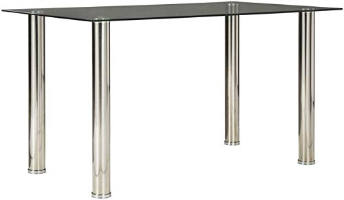 Signature Design By Ashley - Sariden Rectangular Dining Room Table - Contemporary Style - Glass Top/Chrome Legs