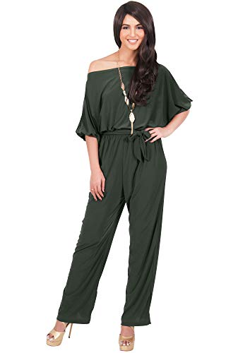 KOH KOH Womens One Shoulder Short Sleeve Sexy Wide Leg Long Pants One Piece Jumpsuit Jumpsuits Pant Suit Suits Romper Rompers Playsuit Playsuits, Olive Green L 12-14 by KOH KOH