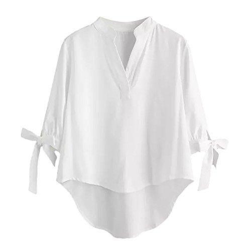 donna per solidi tre Top irregolare Camicetta Manicotto V Maglietta Bendare Arco Bianco quarti a Collo 4RUxEqxw