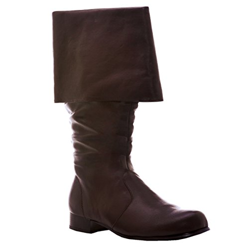 1 inch Heel Mens Sizes Cuffed Pirate Knee Boot Black or Brown Size: Medium Colors: Brown -