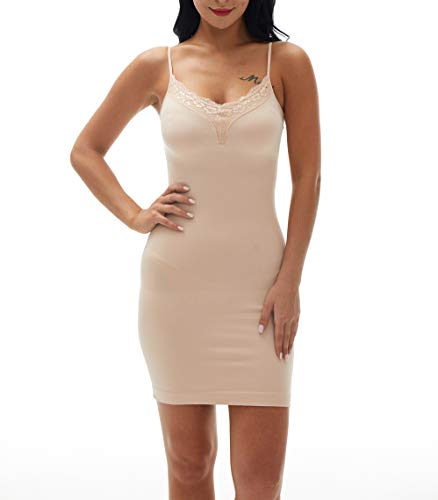 Fay Fay Women's Body Shaper Basic Shapewear Control Slip Lace Dress Nude S ()