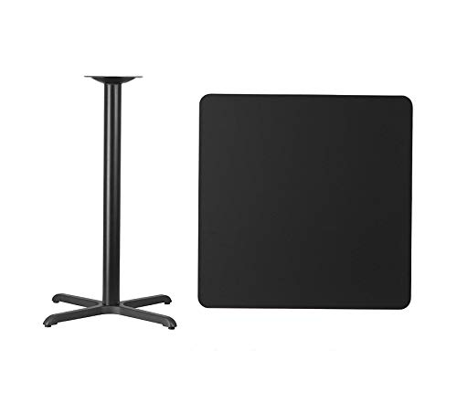 - Wood & Style Office Home Furniture Premium 36'' Square Black Laminate Table Top with 30'' x 30'' Bar Height Table Base