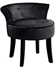 Artiss Velvet Maekup Chair Vanity Stool, Black