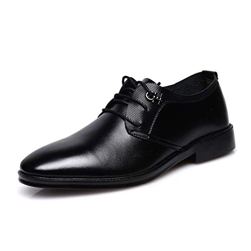 Men Oxford Shoes Black Pointed Toe Lace up Breathable Non-Slip Dress Shoes by Phil Betty