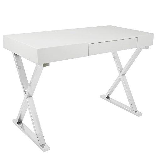 WOYBR OFD-TM-LSTR W Mdf, Chrome, Luster Desk - Chrome Mdf Table