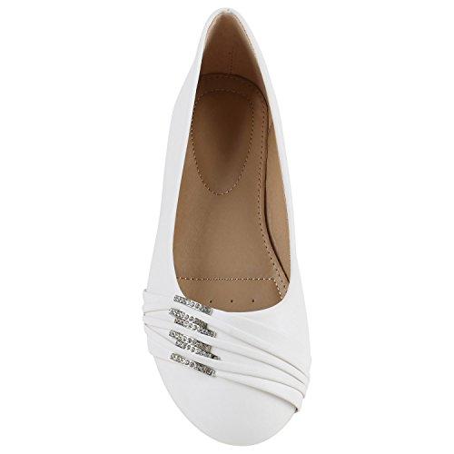 Stiefelparadies Damen Klassische Ballerinas Metallic Slipper Glitzer Slip On Schuhe Strass Flats Übergrößen Abendschuhe Abiball Flandell Weiss Strass