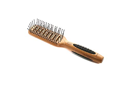 Bass Brushes | Style & Detangle Hair Brush | Professional Grade Nylon Pin | Pure Bamboo Handle with Rubber Grip Rings | 7 Row Vented Style | Dark Finish | Model 701 - DB