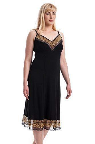 Flos Veris Women's Sleepwear with Lace Black Sleeping dress Plus Size Natural Materials Made in Northern Europe by Flos veris