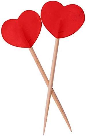 Folat Party Picks rot Valentine Herzen 6,5cm (50Stück)