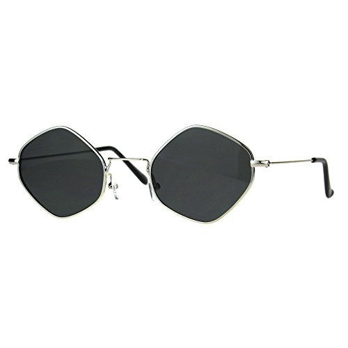 Diamond Shape Sunglasses Womens Indie Fashion Thin Metal Frame Silver, - Frames Glasses Indie