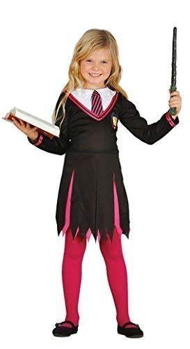 (Girls Pink Wizard Halloween TV Book Film School Girl Uniform Nerd Geek Scholar Fancy Dress Costume Outfit 5-12 Years (7-9)