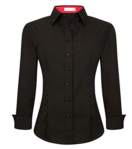 Esabel.C Womens Casual Button Down Shirts Long Sleeve Regular Fit Blouse Black, Small