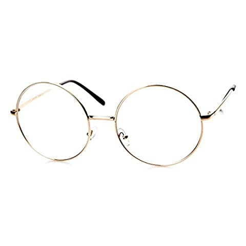 zeroUV - Large Oversized Metal Frame Clear Lens Round Circle Eye Glasses (Gold) - Large Circle