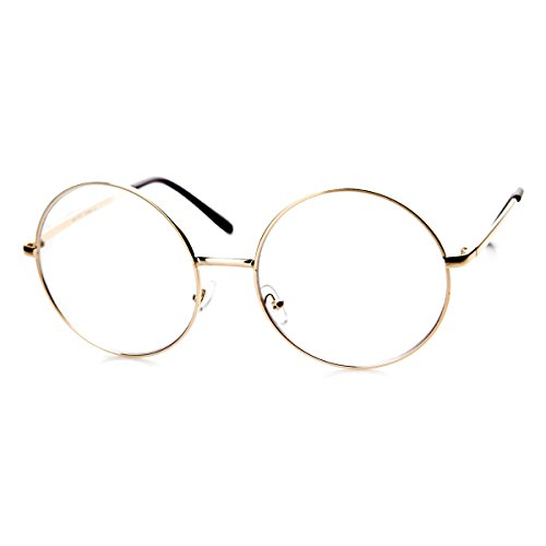 zeroUV - Large Oversized Metal Frame Clear Lens Round Circle Eye Glasses - Eyeglasses Gold Round