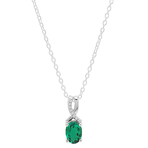 (Dazzlingrock Collection 14K 7X5 MM Oval Cut Lab Created Emerald & Round Diamond Ladies Pendant, White Gold)