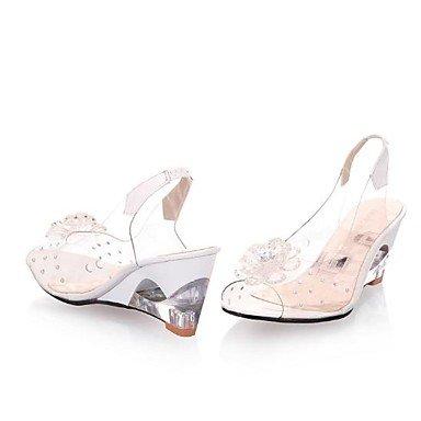FSCHOOLY Womens Zapatos De Gel De Sílice Comodidad Verano Sandalias De Tacón De Cuña Redonda De Cristal Toe For Casual Rojo Amarillo Blanco Blanco