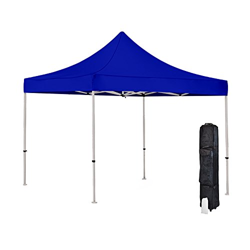 Vispronet Strong Instant 10ft x 10ft Blue Canopy Tent Kit - Pop Up Tent - Steel Hex Frame - Water-Resistant 450D Canopy with Roller Bag and Stakes