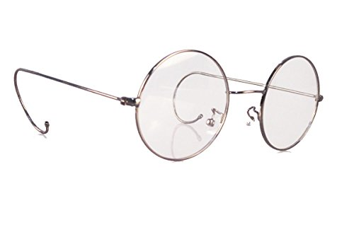 Agstum Retro Round Optical Rare Wire Rim Eyeglass Frame 47mm (Medium size) (Gunmetal, - Temples Cable Eyeglasses With