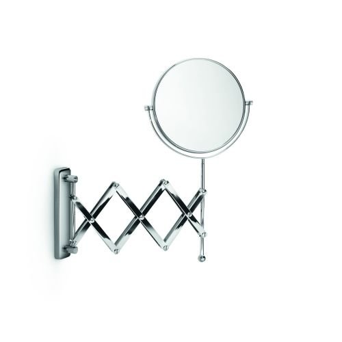 WS Bath Collections Mevedo Collection Double Sided Wall Mounted Makeup Mirror with Extending Arm/Revolving Face/3x Magnification, 9