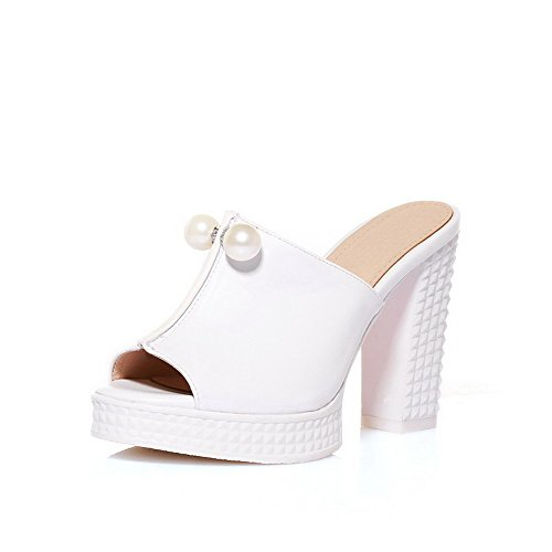 Amoonyfashion Mujeres High Heels Material Blando Solid Pull On Open Toe Slippers Blanco