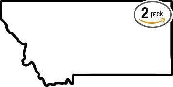 amazon com montana map outline black set of 2 premium