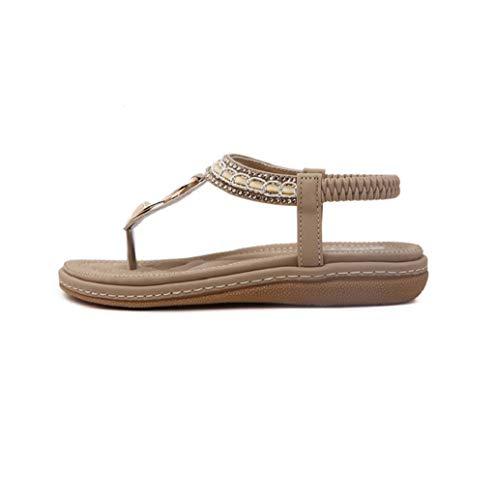 JHKUNO Shoes Women Spring & Summer Shiny Rhinestone Beads Bohemia Beach Flat Sandals Flip Flops Thong Slip On T-Strap Gladiator Sandal Khaki from JHKUNO Shoes
