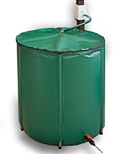 "Collapsible 60 Gallon Rain Barrel - Stands 28"" High x 24"" Wide -Flexible laminated polyester offers superior strength, durability, and resistance to weatering. Zippered top with mesh screen to keep leaves and debris from entering rain barrel. On/Off valve on bottom to control flow. Overflow valve included at top.UV Ressistant for years. Capture and store rainwater from your gutter or downspout. Weighs less than 7 lbs when empty."